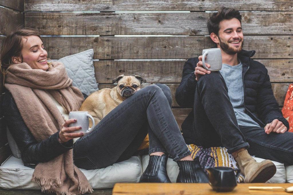 свидание, пара в кафе
